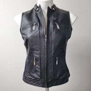 GUESS | Black Moto Pleather Biker Vest Small